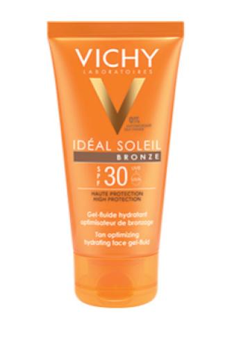 Vichy Ideal Soleil Bronze, vlažilni gel-fluid za obraz - ZF 30, 50 ml
