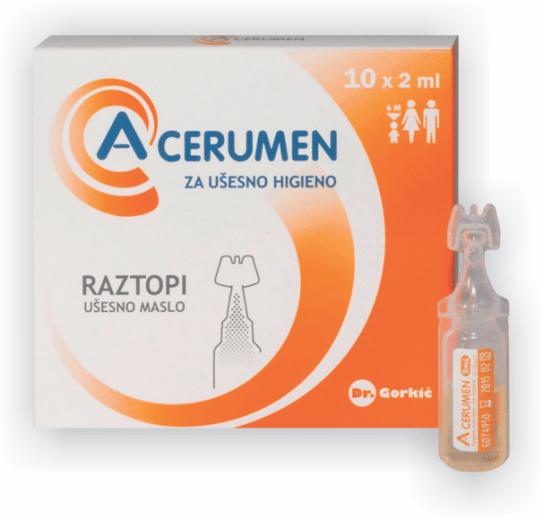 A-Cerumen, raztopina za ušesno higieno, 10 x 2 ml