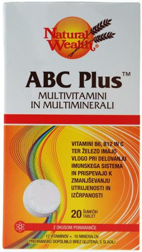 Natural Wealth ABC Plus - okus pomaranče, 20 šumečih tablet