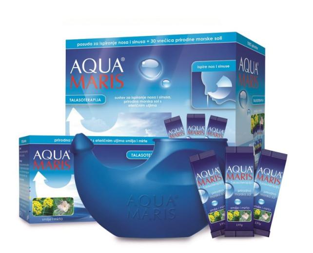 Aqua Maris Talasoterapija, sistem za izpiranje nosu in sinusov, 30 vrečk in posoda