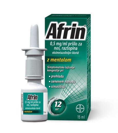 Afrin 0,5 mg/ml, pršilo za nos, raztopina z mentolom, 15 ml