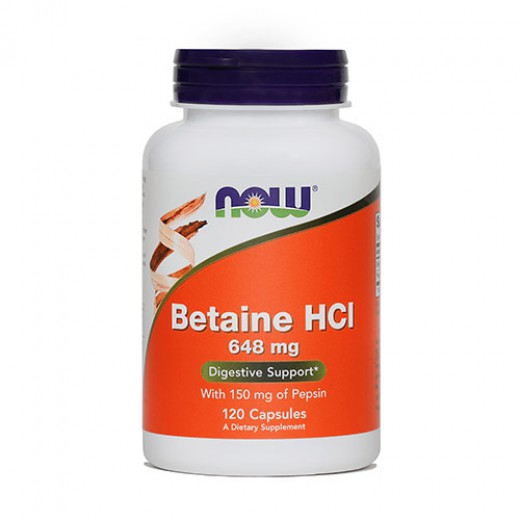 NOW Betain HCl 648 mg, 120 kapsul