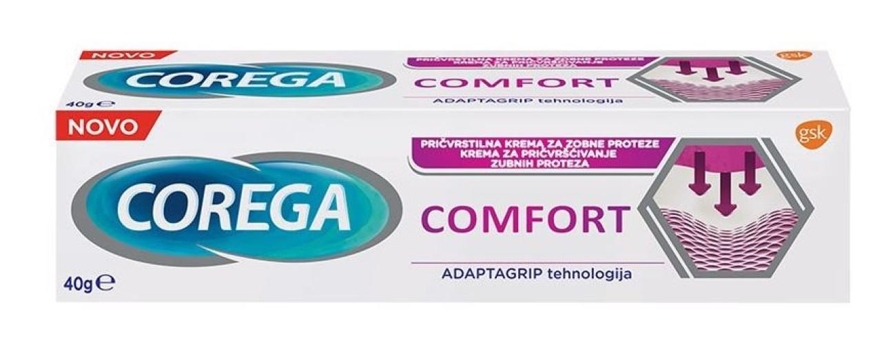 Corega Comfort, pričvrstilna krema za zobne proteze, 40 g