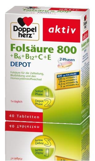 Doppelherz Aktiv Folna kislina 800 + B6 + B12 + C + E, 40 tablet
