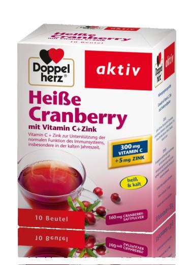 Doppelherz Aktiv Brusnica + vitamin C + cink, vroči napitek, 10 vrečk