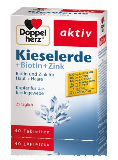 Doppelherz Aktiv Silicijeva prst + biotin + cink, 40 tablet