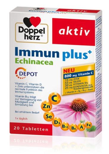 Doppelherz Aktiv Immun Plus + ameriški slamnik depot, 20 tablet
