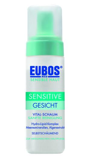Eubos Med Sensitive Vital pena za čiščenje obraza, 150 ml
