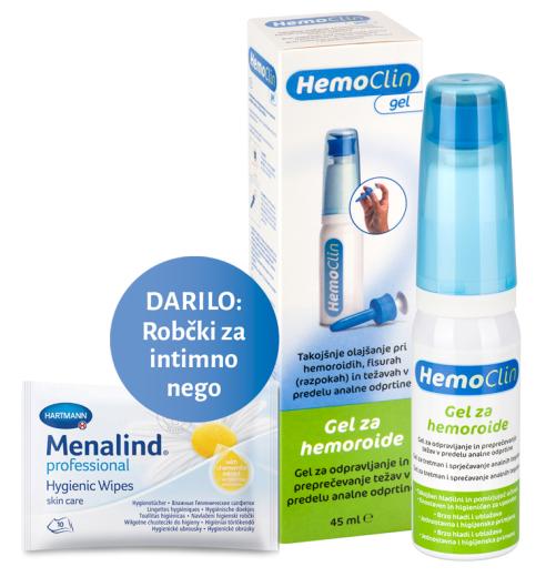 HemoClin, gel proti hemoroidom, 45 ml + GRATIS vlažilni robčki za intimno nego