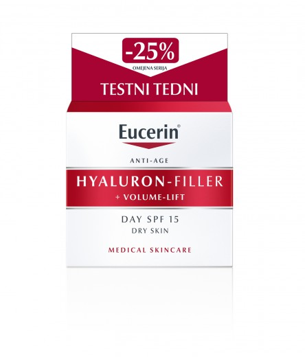 Eucerin Hyaluron-Filler + Volume-Lift dnevna krema za suho kožo, 50 ml