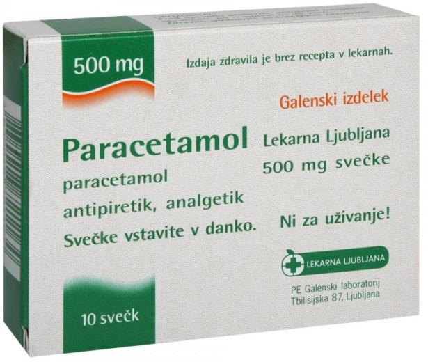 Paracetamol Lekarna Ljubljana 500 mg, svečke za odrasle, 10 svečk