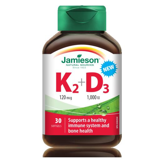 Jamieson Vitamin K2 120 µg + D3 1.000 I.E., 30 kapsul