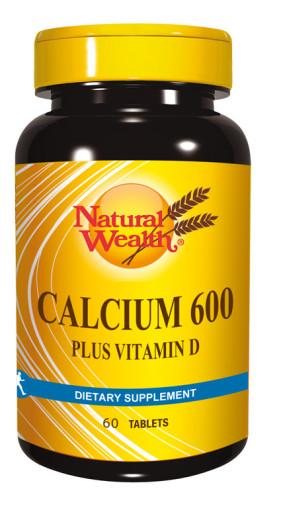 Natural Wealth Kalcij 600 + Vitamin D, 60 tablet