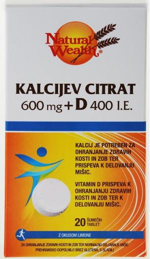 Natural Wealth Kalcijev citrat 600 mg + D 400 i.e. - okus limone, 20 šumečih tablet