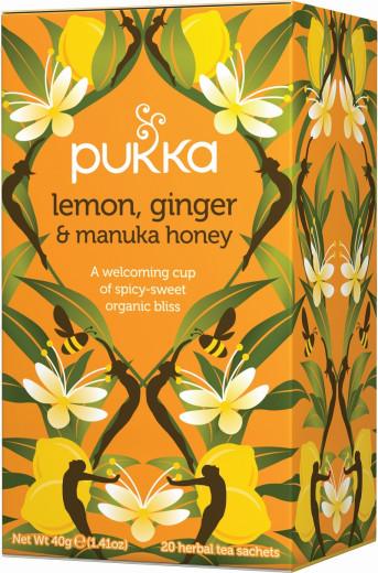 Pukka Lemon, Ginger & Manuka Honey, ekološki čaj, 20 vrečk