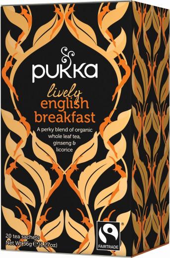 Pukka Lively English Breakfast, ekološki črni čaj, 20 vrečk