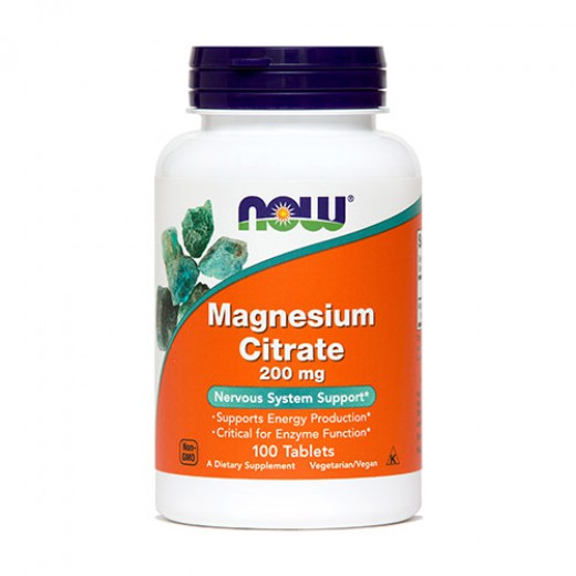 NOW Magnezijev citrat 200 mg, 100 tablet