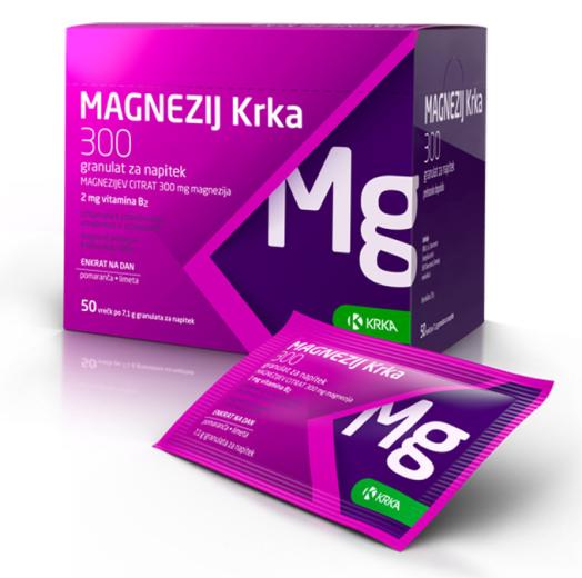 Magnezij Krka  300, granulat za napitek, 50 vrečk