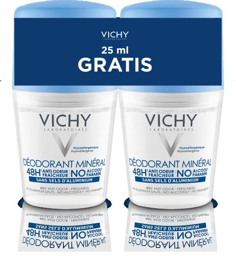 Vichy Mineralni dezodorant roll-on, 2x50 ml