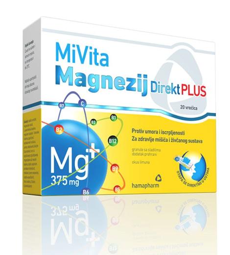 Mivita Magnezij 375 mg Direkt Plus, 20 vrečk
