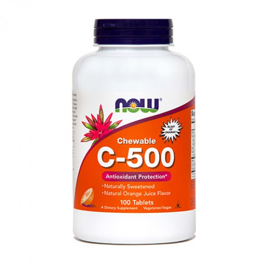 NOW Vitamin C 500 mg, 100 žvečljivih tablet