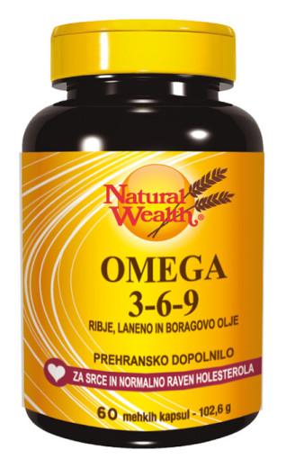 Natural Wealth Omega 3-6-9, 60 mehkih kapsul
