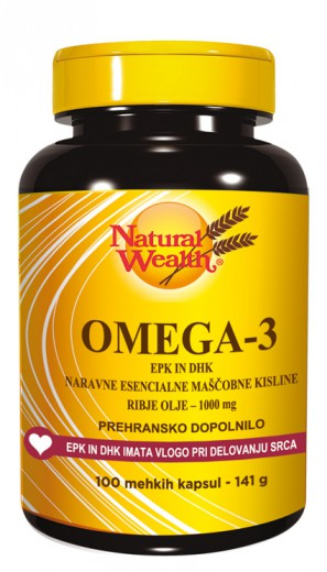 Natural Wealth Omega 3 1000 mg, 100 mehkih kapsul