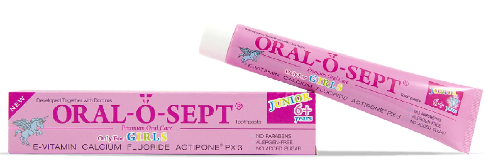 Oral-o-sept, Junior 6+, Girls, zobna pasta, 75 ml