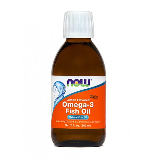 NOW Omega 3, ribje olje z okusom limone, 200 ml