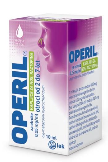 Operil za otroke 0,25 mg/ml, kapljice za nos, raztopina, 10 ml