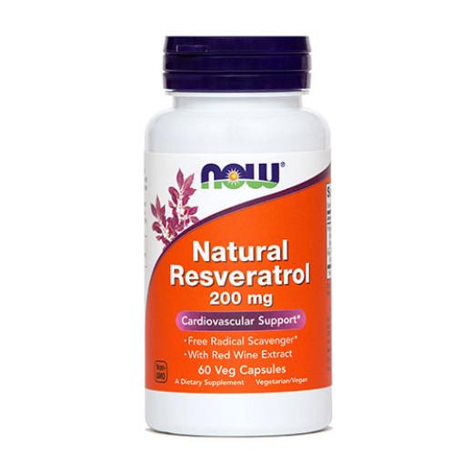 NOW Resveratrol 200 mg, 60 kapsul