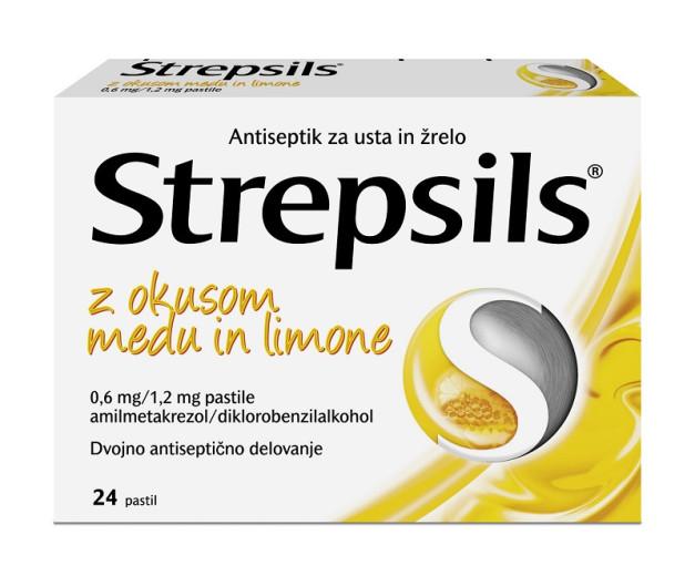 Strepsils 0,6 mg/1,2 mg z okusom medu in limone, 24 pastil