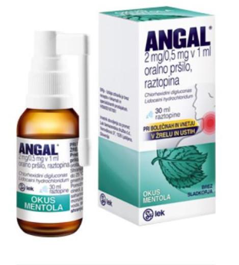 Angal 2 mg/0,5 mg v 1 ml, oralno pršilo, 30 ml