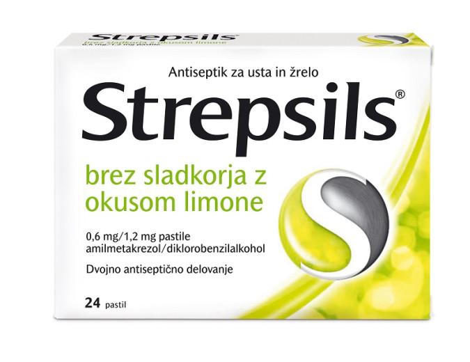 Strepsils 0,6 mg/1,2 mg - brez sladkorja z okusom limone, 24 pastil