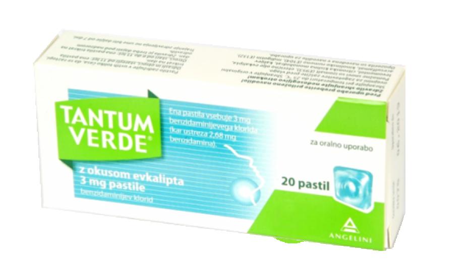 Tantum Verde 3 mg, pastile z okusom evkalipta, 20 pastil