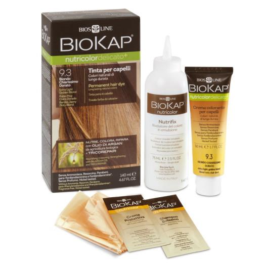 Biokap Nutricolor Delicato Plus 9.3 svetlo zlato blond, barva za lase, 140 ml