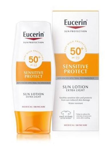 Eucerin Sun, ekstra lahek zaščitni losjon - ZF 50+, 150 ml
