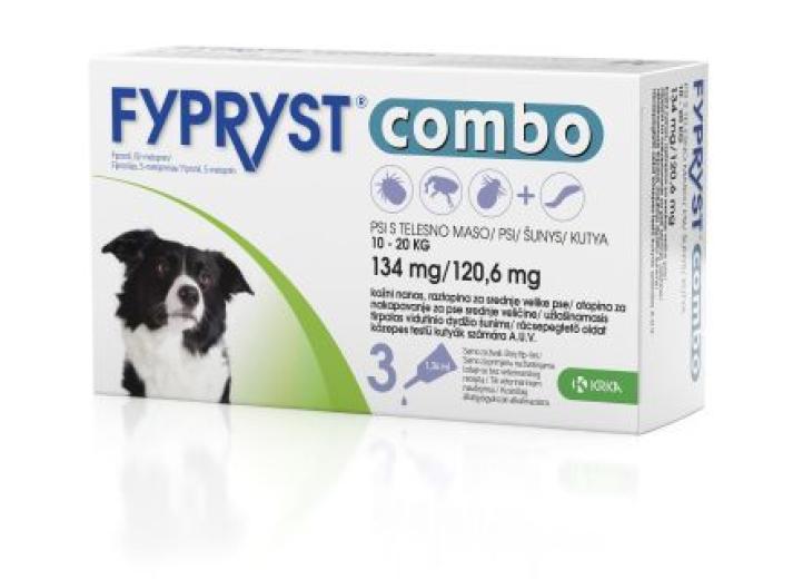 Fypryst Combo 134 mg/120,6 mg, kožni nanos - za srednje velike pse, 3 pipete