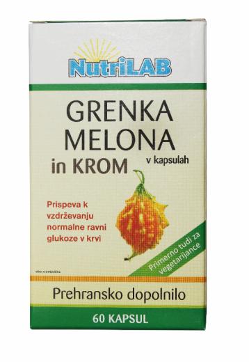 Nutrilab Grenka melona in krom, 60 kapsul