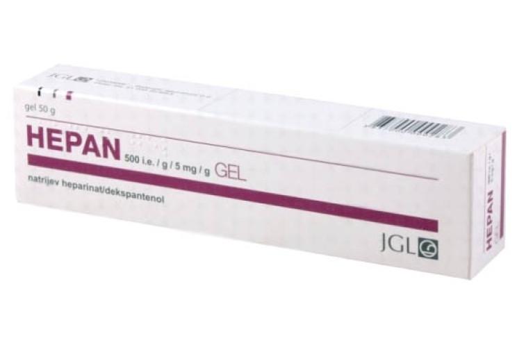 Hepan 500 i.e./5 mg v 1 g, gel, 50 g