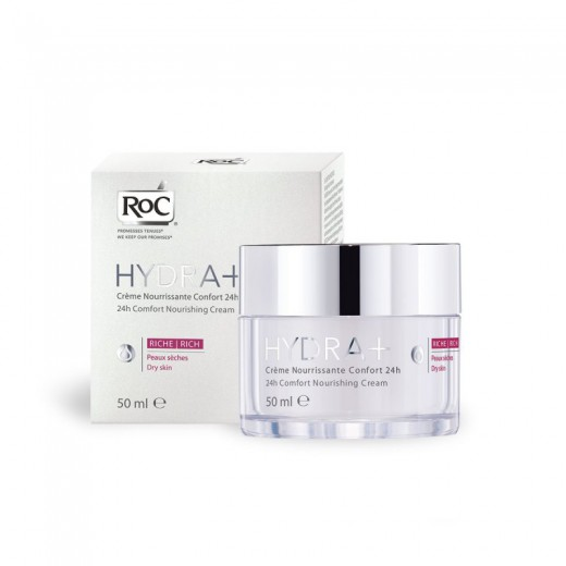 RoC Hydra+ 24h, hranilna krema za suho kožo, 50 ml