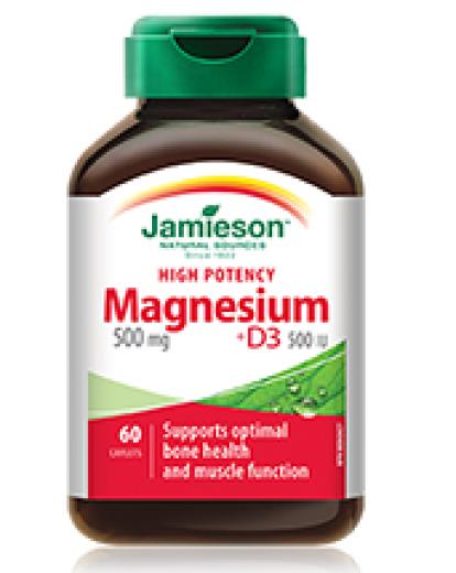 Jamieson Magnezij 500 mg + Vitamin D3, 60 tablet