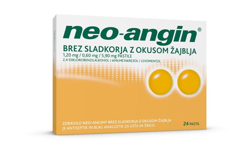Neo-angin 1,20 mg/0,60 mg/5,90 mg brez sladkorja z okusom žajblja, 24 pastil