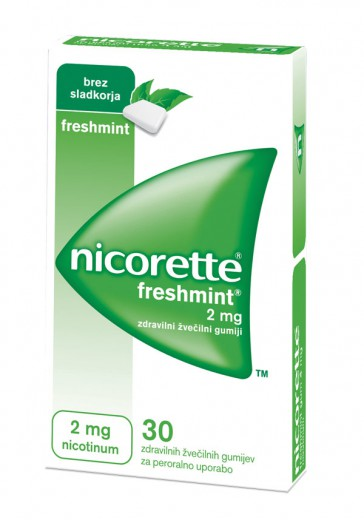 Nicorette Freshmint 2 mg, 30 zdravilnih žvečilnih gumijev