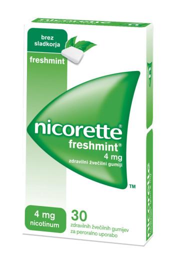 Nicorette Freshmint 4 mg, 30 zdravilnih žvečilnih gumijev