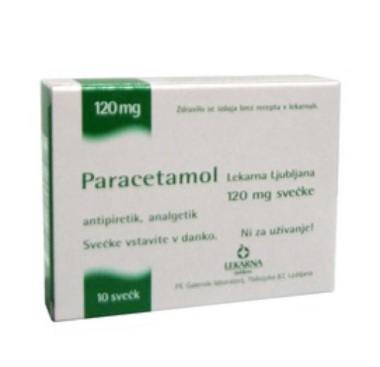 Paracetamol Lekarna Ljubljana 120 mg, svečke za otroke, 10 svečk