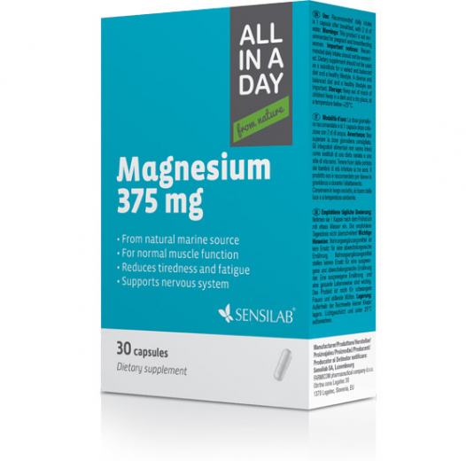 Sensilab, All in a day Magnesium 375 mg, 30 kapsul