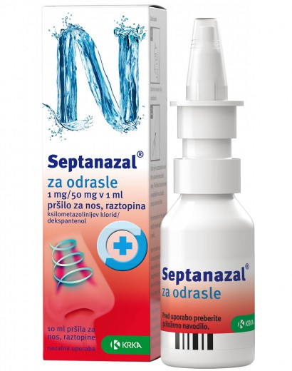 Septanazal 1 mg/50 mg v 1 ml, pršilo za nos za odrasle, 10 ml