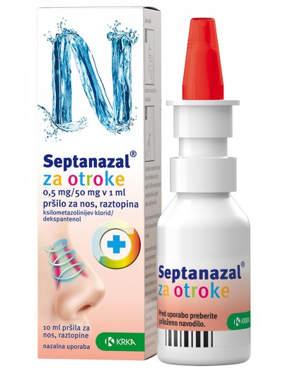 Septanazal 0,5 mg/50 mg v 1 ml, pršilo za nos za otroke, 10 ml