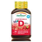 Jamieson Vitamin D3, bonboni za otroke z okusom jagode, 100 bonbonov